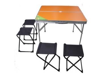 Стол раскладной + 4 табурета Green Way, оранжевый